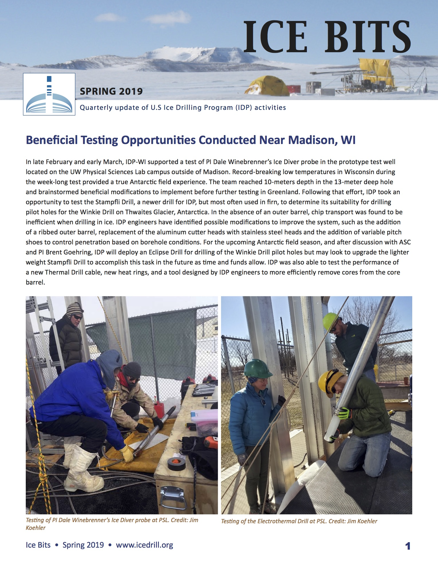 Cover of 2019 Spring Ice Bits newsletter