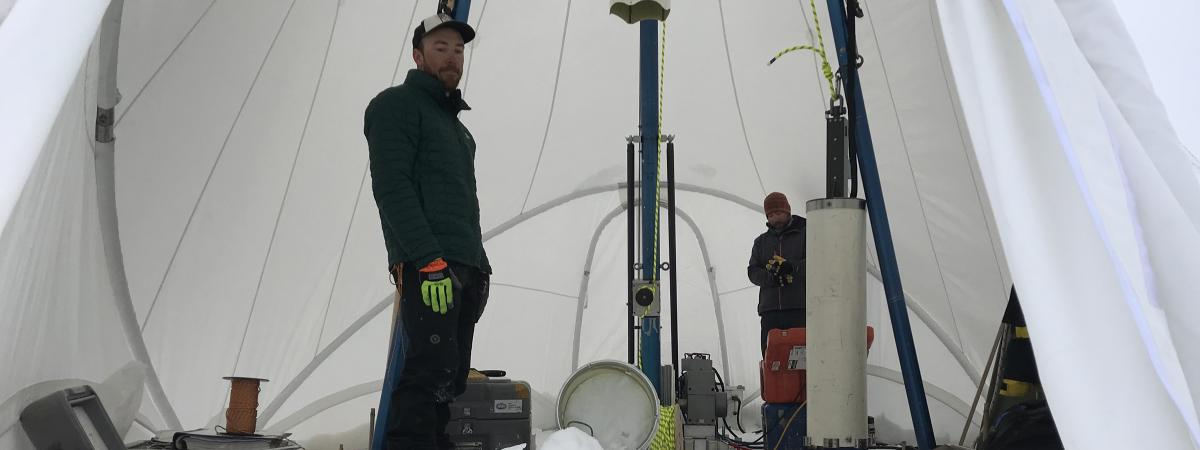 Interior of the new Blue Ice Drill tent at Law Dome, Antarctica, during the 2018-2019 field season