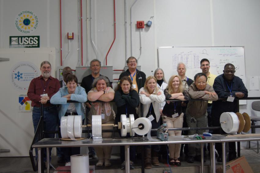 2015 School of Ice participants from ten states pose at the U.S. National Ice Core Laboratory before a tour of a live core processing line