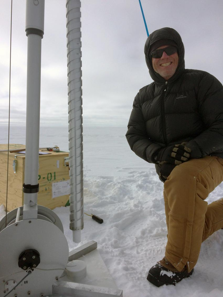 IDP driller Mike Jayred with the second Stampfli Drill test core drilled during the 2017 Arctic field season