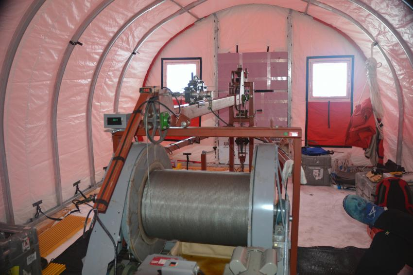 View of the inside of the borehole logging tent at WAIS Divide, Antarctica, and the USGS Deep Logging Winch