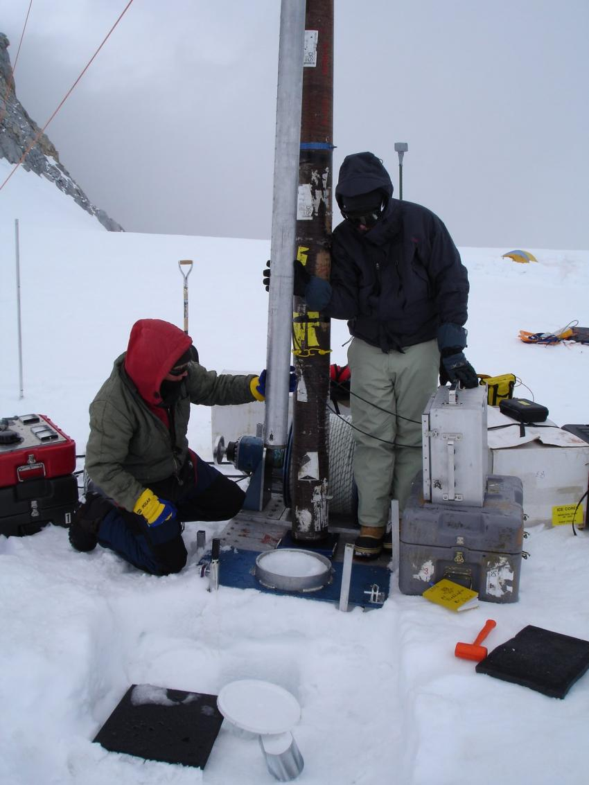 Drilling with the thermal drill at Combatant Col, Mt. Waddington, British Columbia, during the 2010 field season