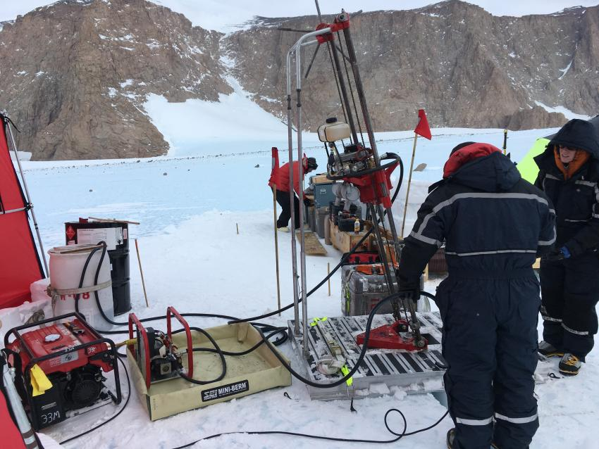 The assembled Winkie Drill system at the Ohio Range, Antarctica, during the 2016-2017 summer field season