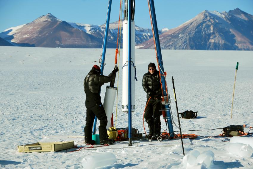 The Blue Ice Drill at Taylor Glacier, Antarctica, during the 2014/15 field season