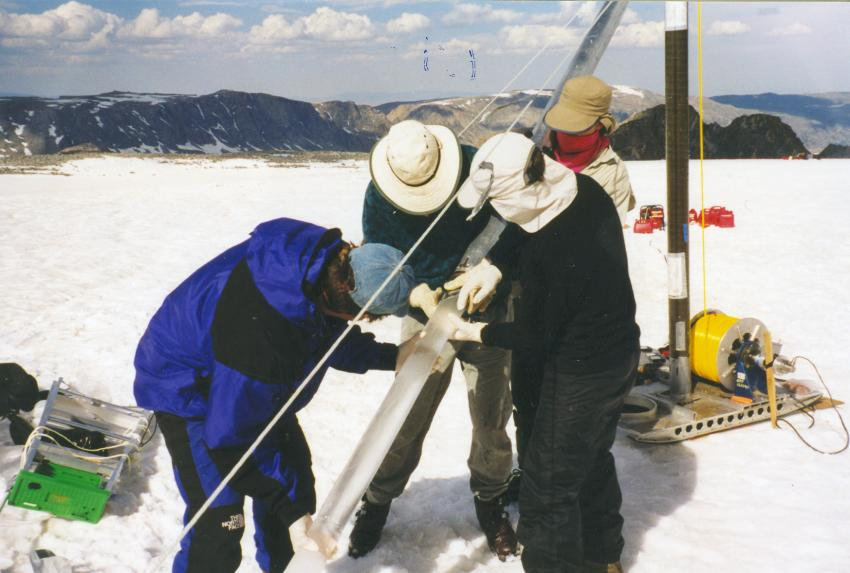 Drilling with the thermal drill on the South Cascade Glacier, Washington