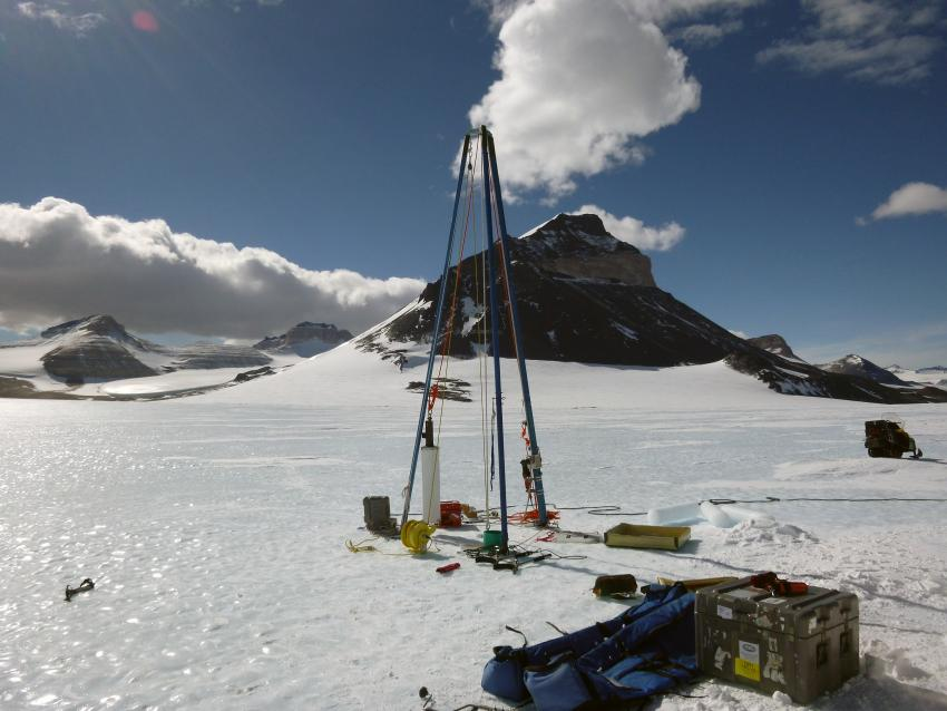 The Blue Ice Drill at Taylor Glacier, Antarctica, during the 2013/14 field season