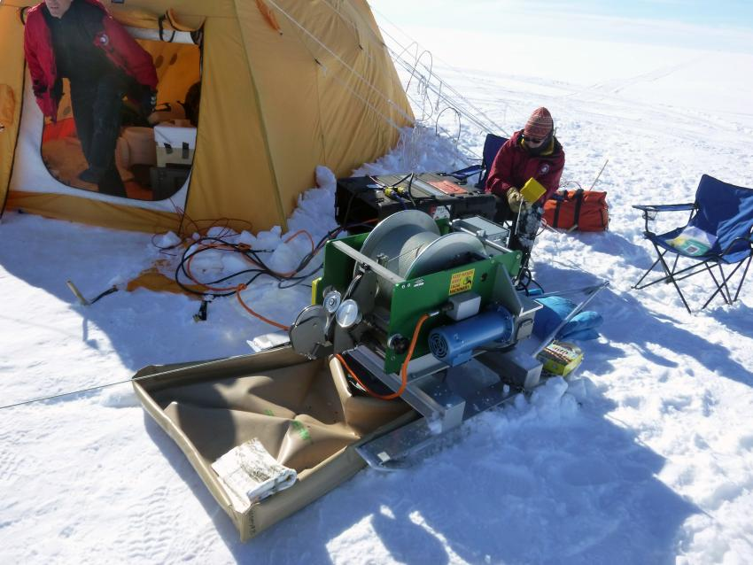 The intermediate depth logging winch in operation at Siple Dome, Antarctica, during the 2013-2014 summer field season