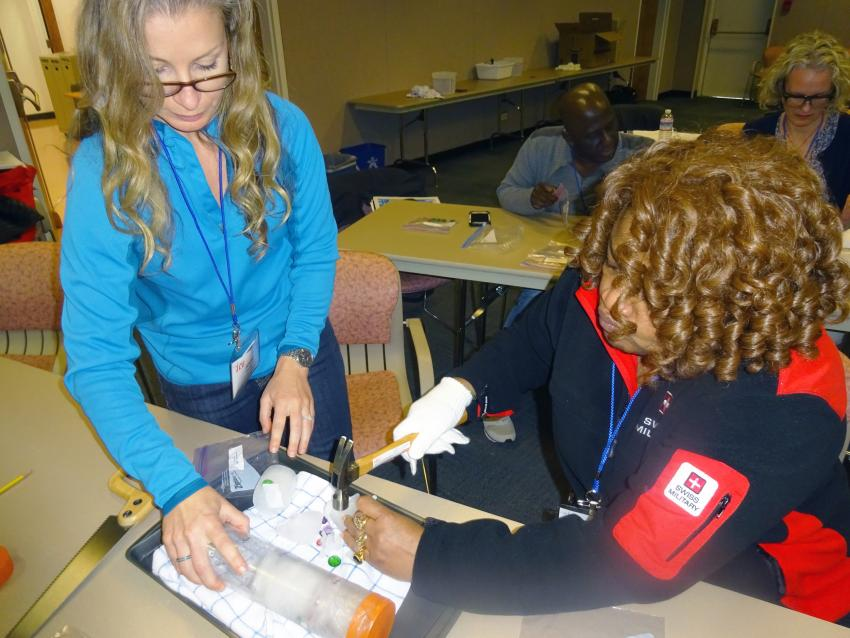Educators involved in hands-on activities during the 2016 School of Ice workshop