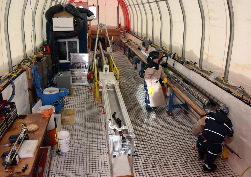 Inside the drilling tent of the South Pole Ice Core project during the 2014-2015 summer field season