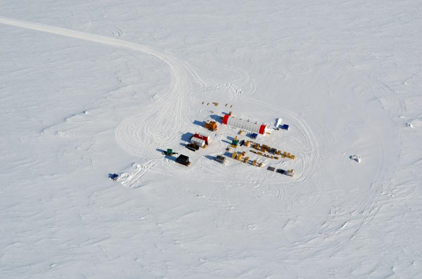 View of the South Pole Ice Core field camp, located a few kilometers from the Amundsen-Scott South Pole Station
