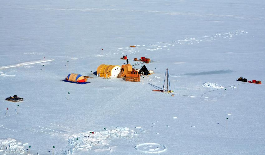 Aerial view of a field camp on Taylor Glacier, Antarctica