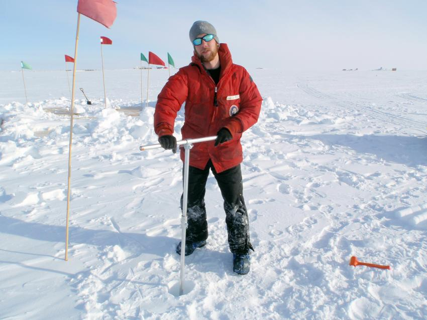 Josh Jetson field tests the IDDO 3-Inch hand auger design at WAIS Divide, Antarctica