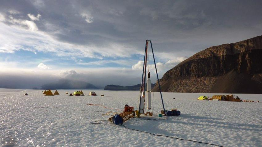 The Blue Ice Drill and the drill camp at Taylor Glacier, Antarctica, during the 2010/11 field season