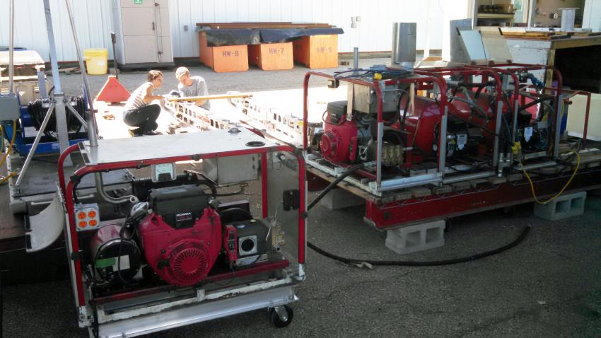 The Small Hot Water Drill set-up at the University of Wisconsin's Physical Sciences Laboratory for testing/upgrade during the 2015 summer