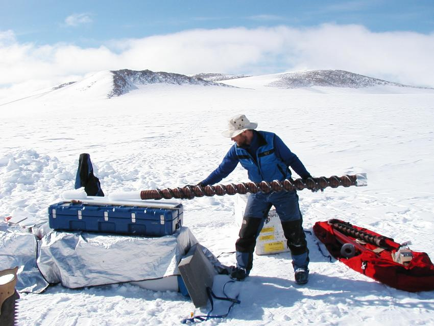 Collecting an ice core in the Dry Valleys of Antarctica using a PICO hand auger.