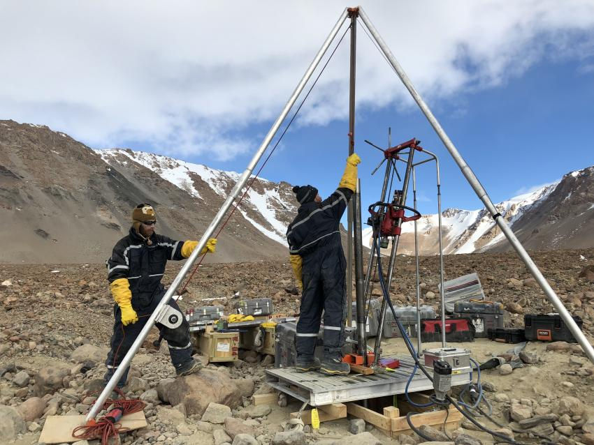 The Winkie Drill in Ong Valley, Antarctica, during the 2017-2018 Antarctic field season