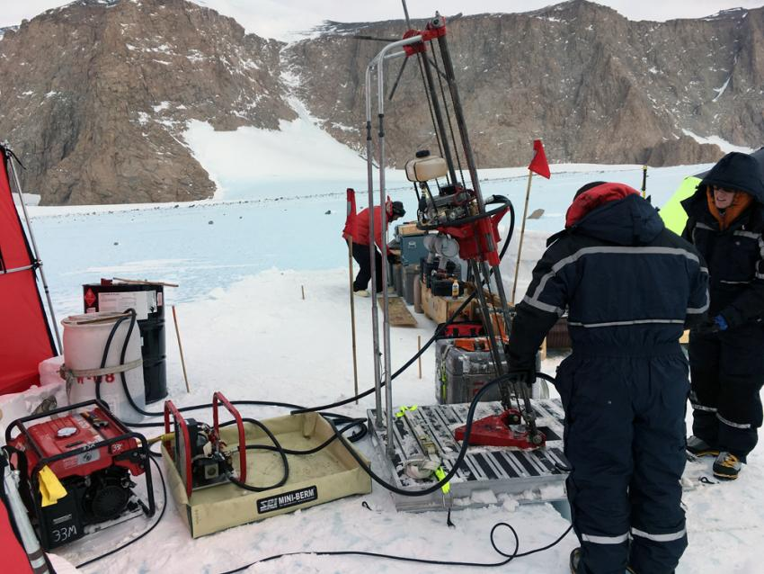 The assembled Winkie Drill system at the Ohio Range, Antarctica