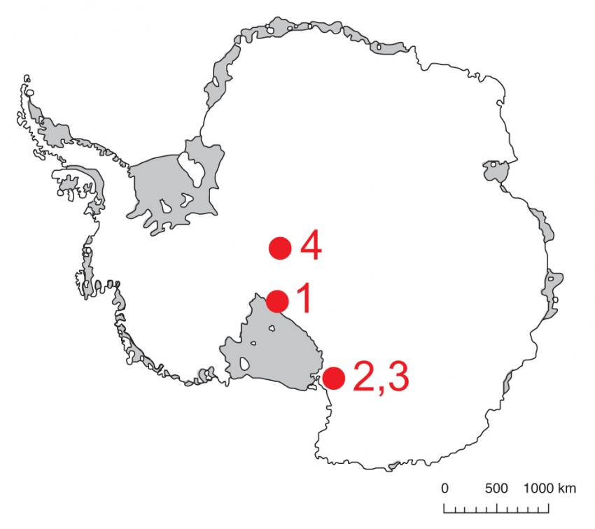 Map of Antarctica showing IDDO 2017-2018 field season locations