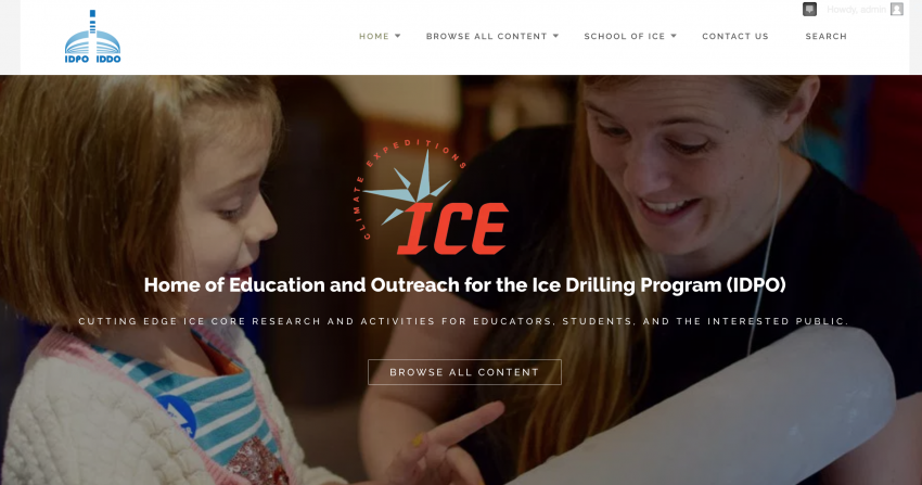 Screenshot of the new IDPO Education and Outreach website