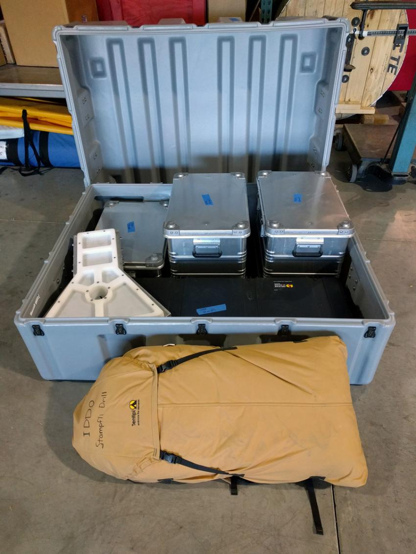 The shipping crate for the Stampfli Drill
