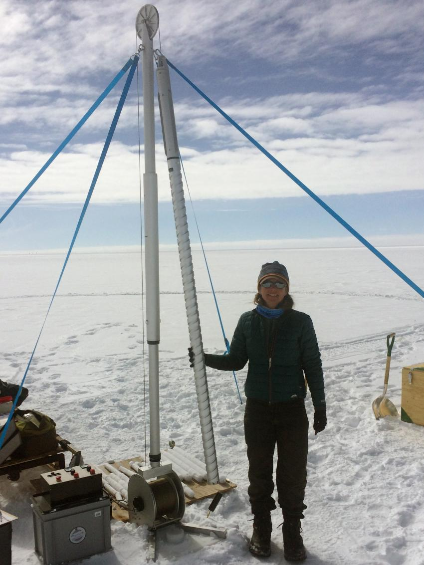 IDDO driller Elizabeth Morton field testing the Stampfli 2-Inch Drill in Greenland
