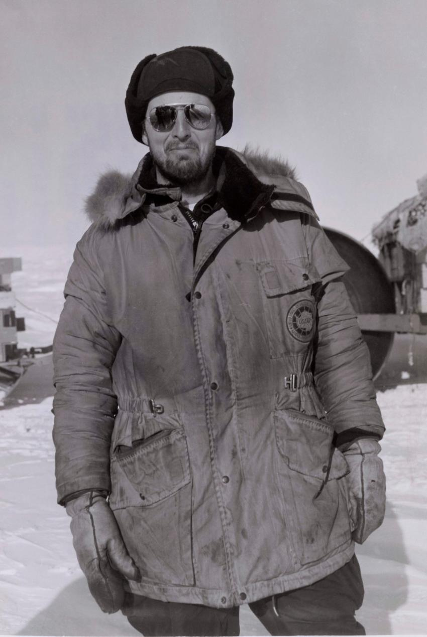 Charles Bentley dressed for the Antarctic weather in 1964