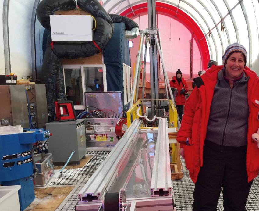 Dr. Julie Palais inside the drilling tent for the South Pole ice core project during the 2015-16 Antarctic field season