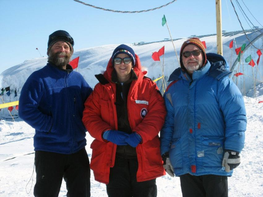 Dr. Julie Palais (middle) with Dr. Kendrick Taylor (left) and Bruce Vaughn (right) outside of the arch for the WAIS Divide ice core project during the 2008-09 Antarctic field season