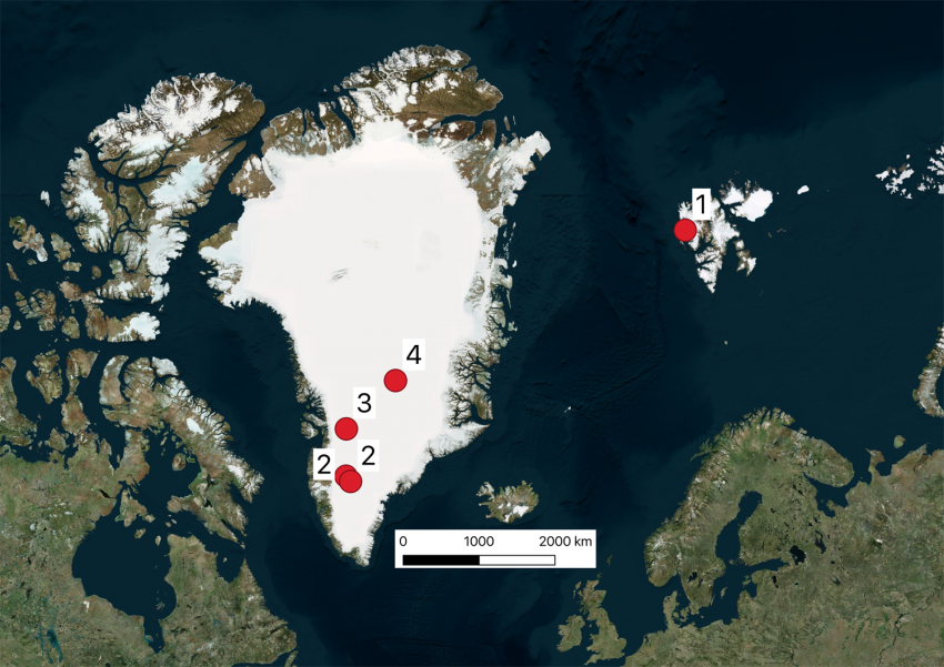 Map showing field locations in Greenland and Svalbard.
