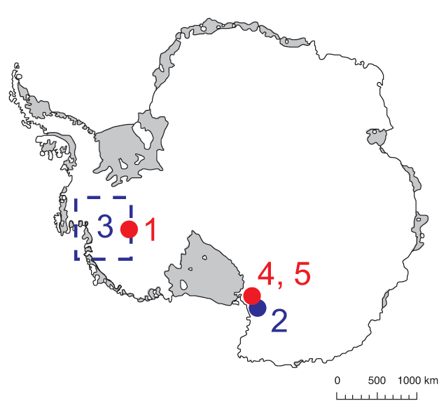 Map of Antarctica showing 2010-2011 field season drilling locations