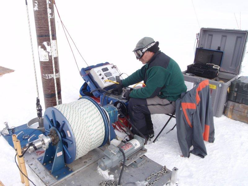 Terry Gacke drilling an ice core in Greenland with the 4-Inch Drill