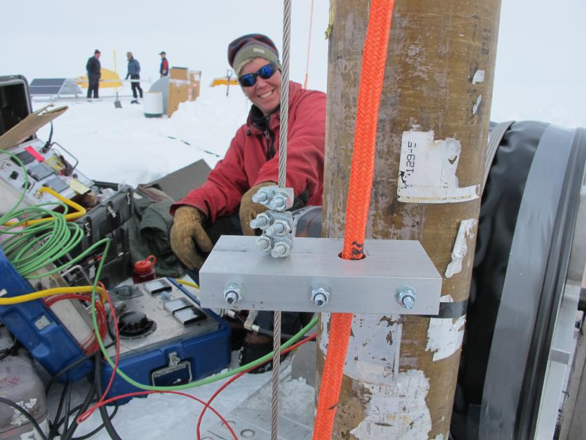 Lead Driller Beth Bergeron operates the winch