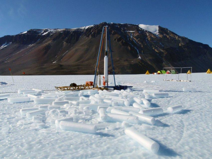 The Blue Ice Drill is designed to collect large volumes of ice (9.5-inch diameter cores) in a short period of time