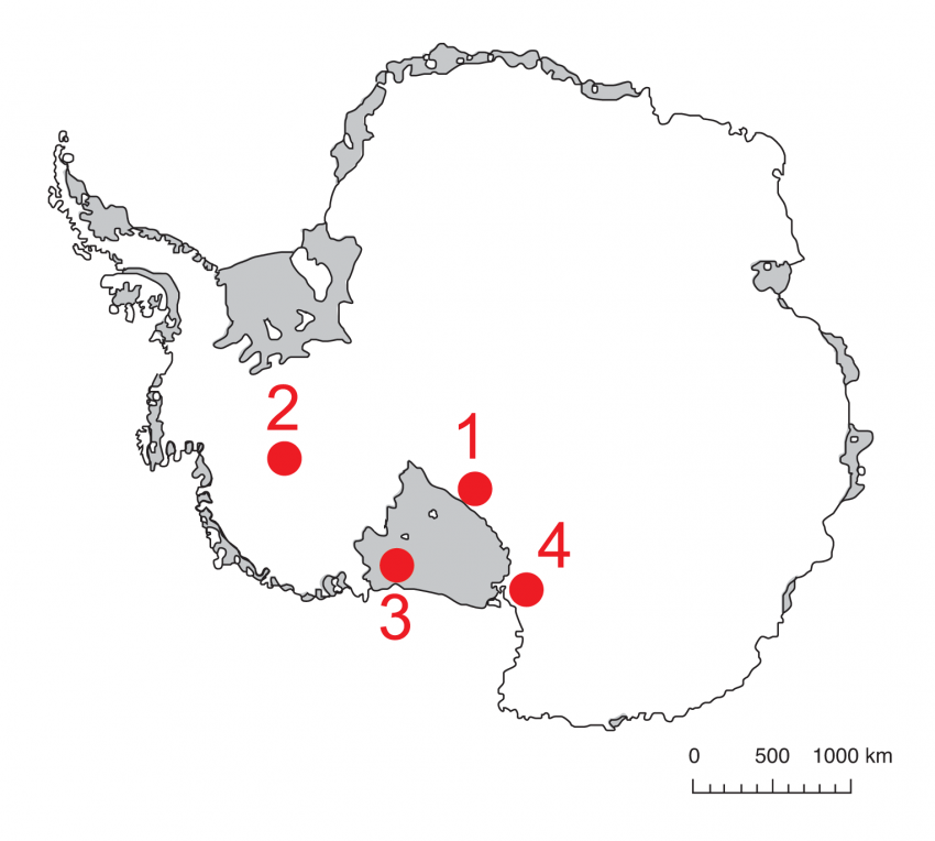 Map of Antarctica showing IDDO 2012-2013 field season locations