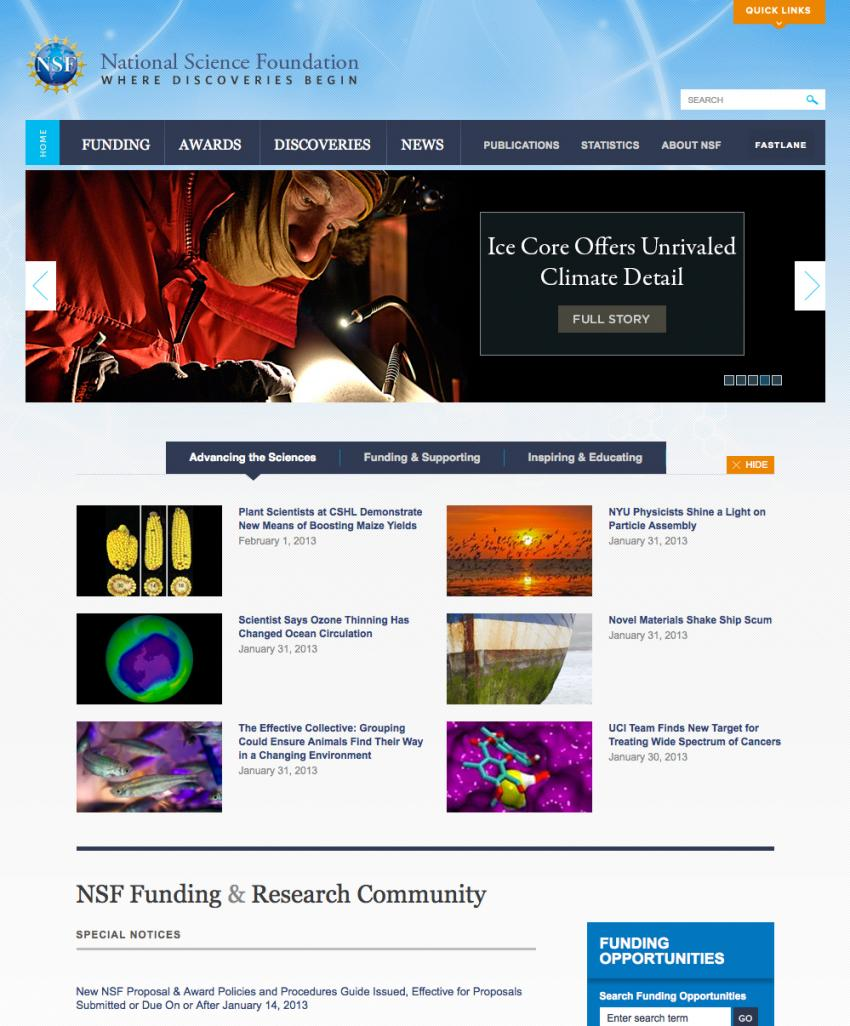 Screen-shot of the homepage of the NSF website showing the press release about WAIS Divide
