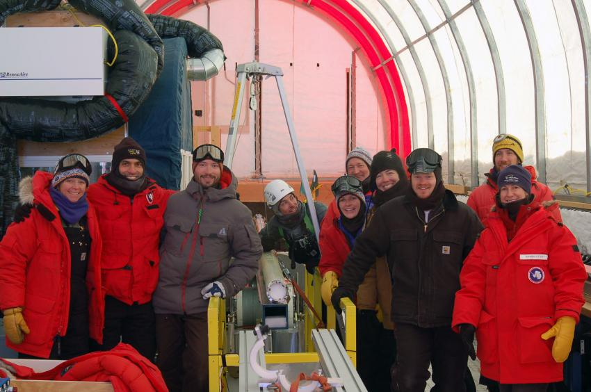 The SPICEcore team with the first core drilled on December 8, 2014
