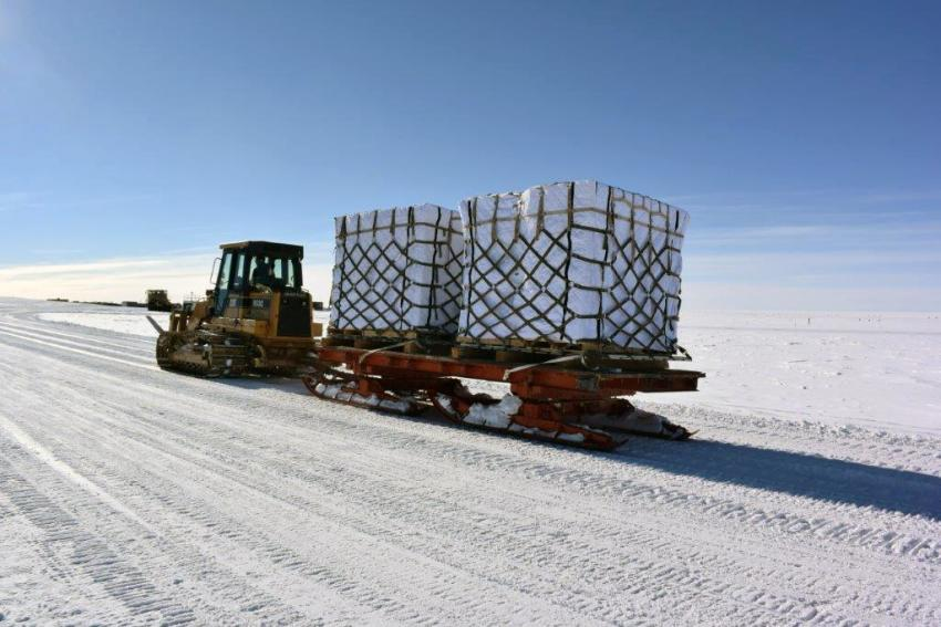 Ice cores being transported to South Pole skiway