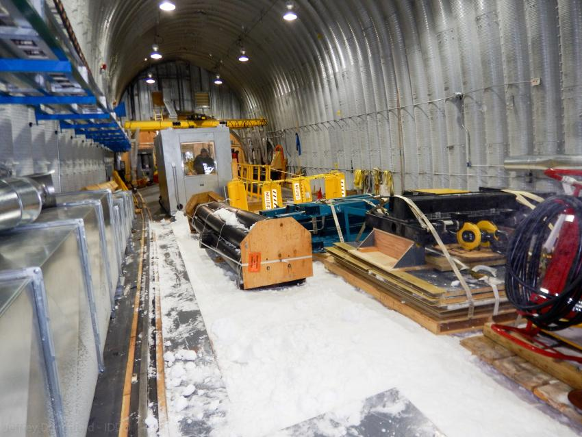Cargo staged in the drill arch for over-winter storage