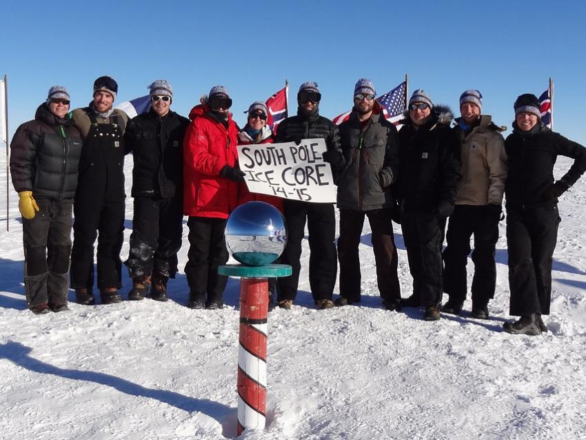 The 2014-15 South Pole ice core field team at the Ceremonial South Pole