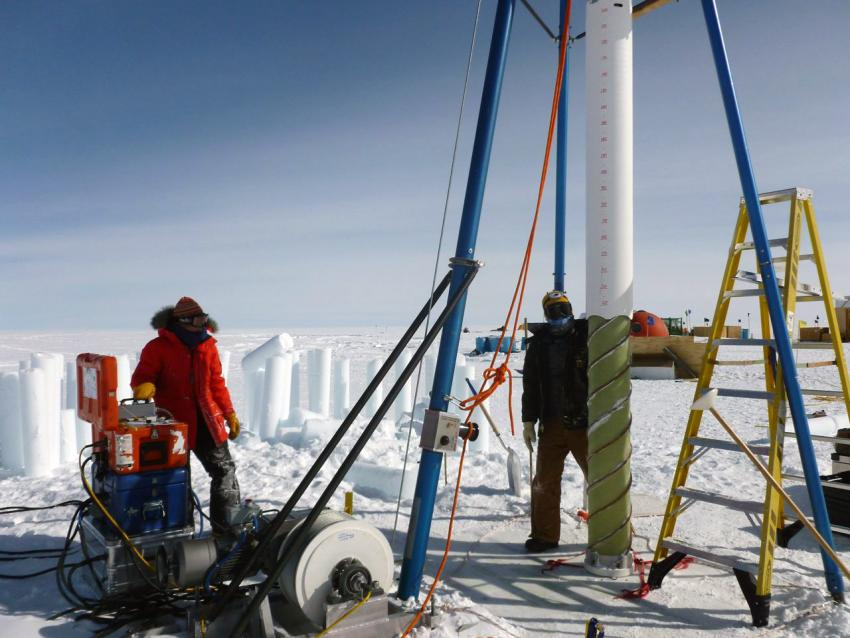 Josh Goetz and Elizabeth Morton operate the BID-Deep at Summit, Greenland