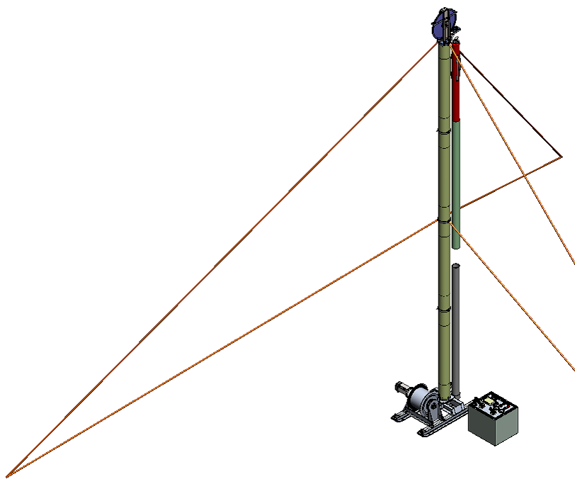 SolidWorks model of the new 'Foro' Drill winch, tower and sonde