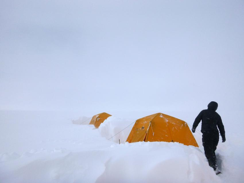 A spring storm brought ~2.5 m of snow to the Greenland Firn Aquifer project camp.