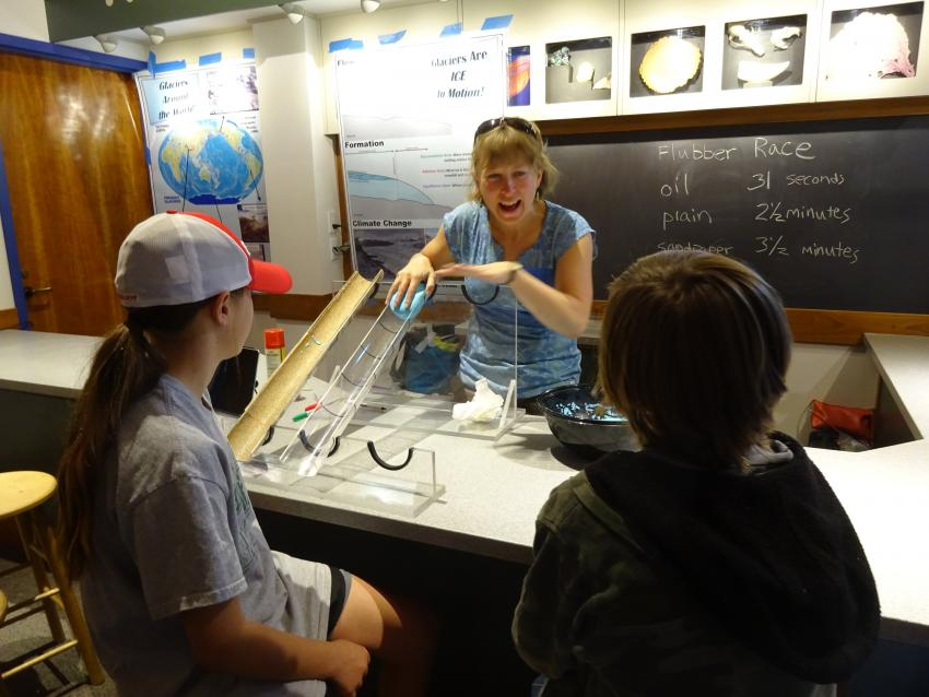 Dartmouth post-doc, Dr. Bess Koffman, teaches about glacier flow during the Montshire Museum outreach event