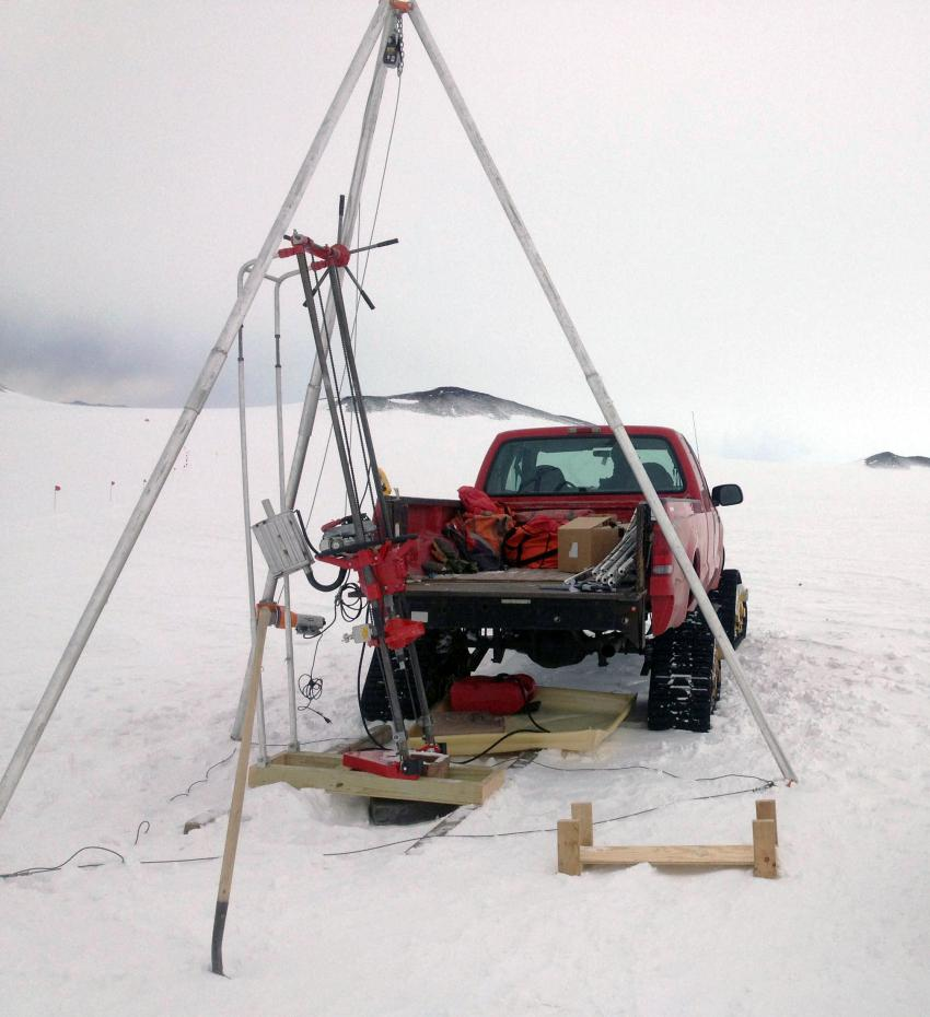 Winkie Drill testing near McMurdo Station, Antarctica, during February 2016
