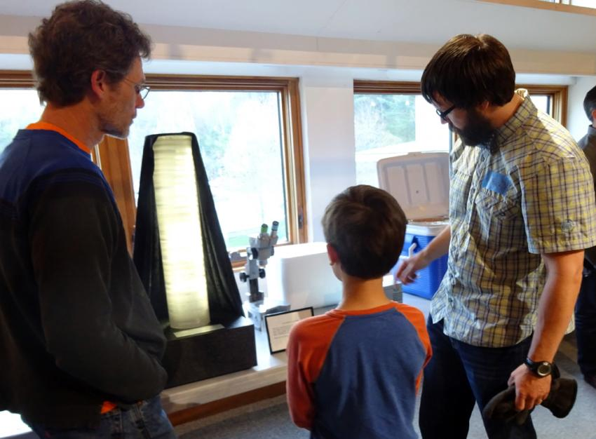 Visitors to the Montshire Museum on May 11, 2016, became Antarctic explorers while trying on ECW gear, and learned about ice core science (pictured)