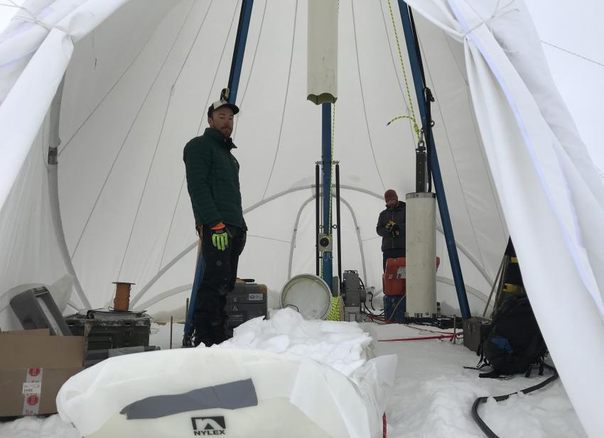 Interior of the new Blue Ice Drill tent at Law Dome, Antarctica, during the 2018/19 field season