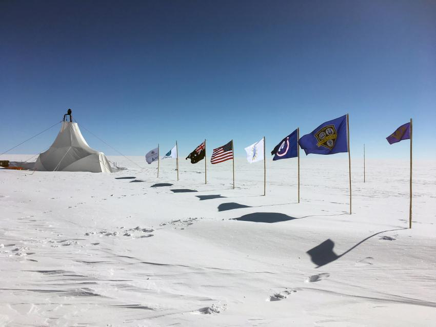 Exterior of the new Blue Ice Drill tent at Law Dome, Antarctica, during the 2018/19 field season