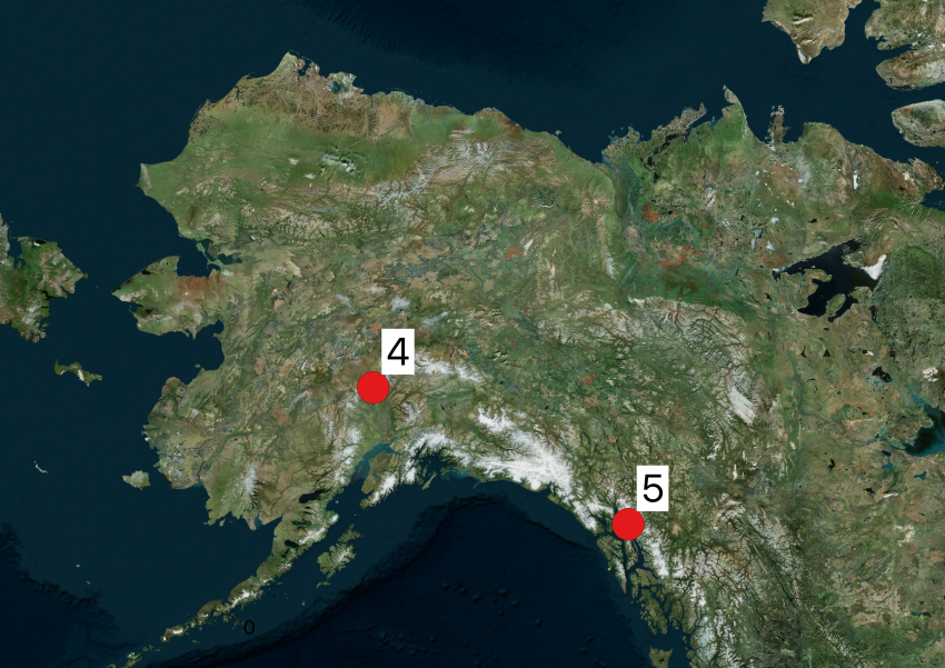 Map of Alaska showing 2019 Arctic field season locations