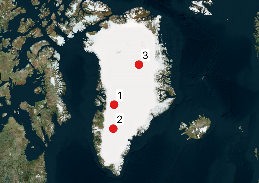 Map of Greenland showing 2019 Arctic field season locations
