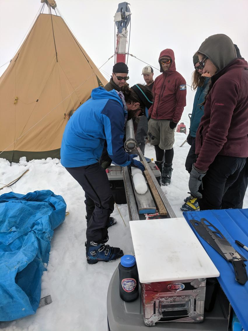 JIRP students learn about drilling ice cores during the field test of the Thermal Drill. The ice cores from the field test were made available for the JIRP students to study